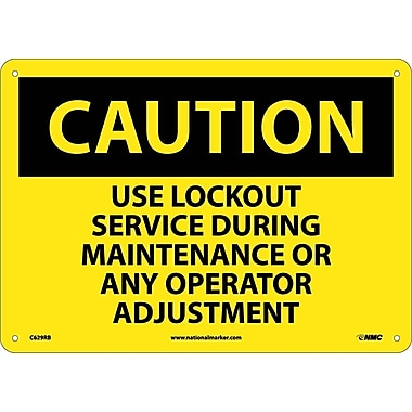 Caution, Use Lockout Service During Maintenance Or Any Operator Adjustment, 10X14, Rigid Plastic