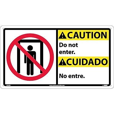 Caution, Do Not Enter (Bilingual W/Graphic), 10X18, Rigid Plastic