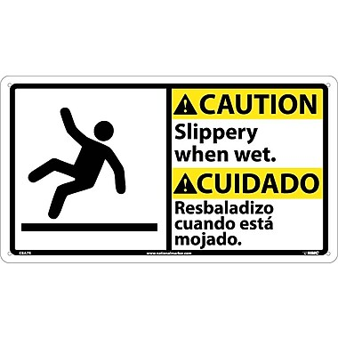 Caution, Slippery When Wet (Bilingual W/Graphic), 10X18, Rigid Plastic
