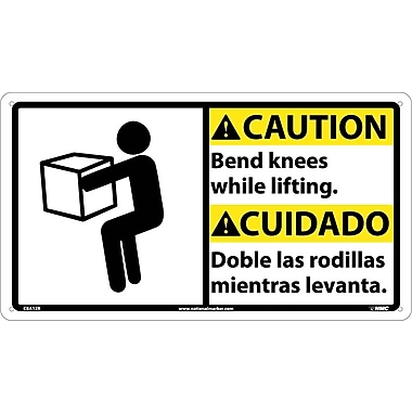 Caution, Bend Knees While Lifting (Bilingual W/Graphic), 10X18, Rigid Plastic