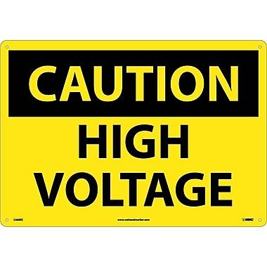 Caution, High Voltage, 14X20, Rigid Plastic