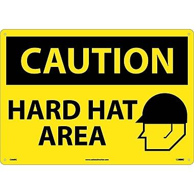 Caution, Hard Hat Area, Graphic, 14X20, Rigid Plastic