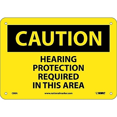 Caution, Hearing Proteection Required In This Area, 7X10, .040 Aluminum