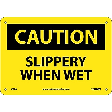 Caution, Slippery When Wet, 7X10, .040 Aluminum
