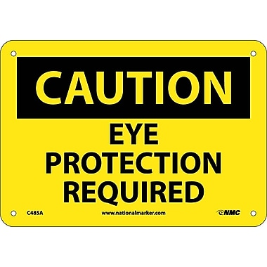 Caution, Eye Protection Required, 7X10, .040 Aluminum