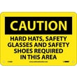 Caution, Hard Hats, Safety Glasses, Safety Shoes Required Beyond This Point, 7X10, .040 Aluminum