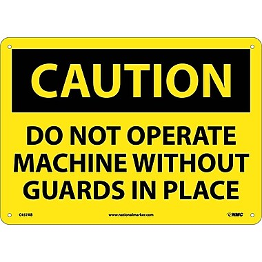 Caution, Do Not Operate Without Guards In Place, Graphic, 10X14, .040 Aluminum