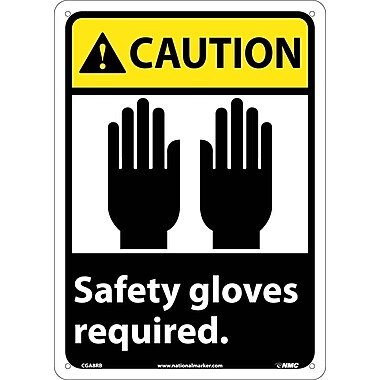 Caution, Safety Gloves Required (W/Graphic), 14X10, Rigid Plastic