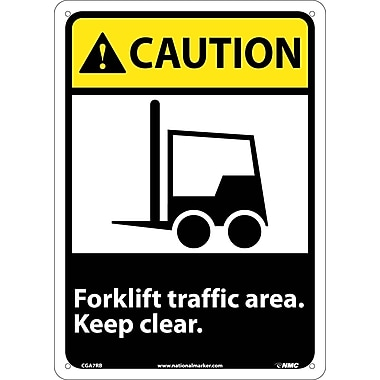 Caution, Forklift Traffic Area Keep Clear (W/Graphic), 14X10, Rigid Plastic