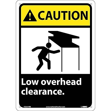 Caution, Low Overhead Clearance, 14X10, Rigid Plastic