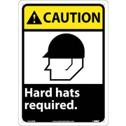 Caution, Hard Hats Required, 14X10, Rigid Plastic