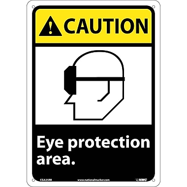 Caution, Eye Protection Area, 14X10, Rigid Plastic