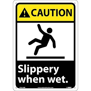 Caution, Slippery When Wet (W/Graphic), 14X10, Rigid Plastic