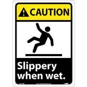 Caution, Slippery When Wet (W/Graphic), 14X10, Rigid Plastic