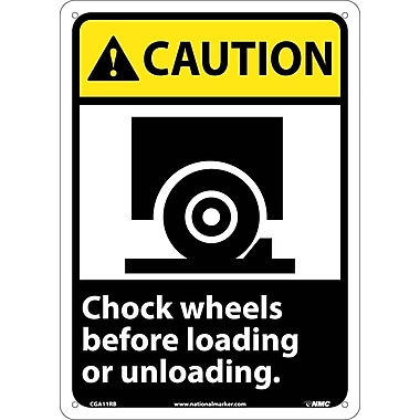 Caution, Chock Wheels Before Loading Or Unloading with Graphic, 14