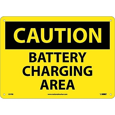 Caution, Battery Charging Area, 10X14, Rigid Plastic