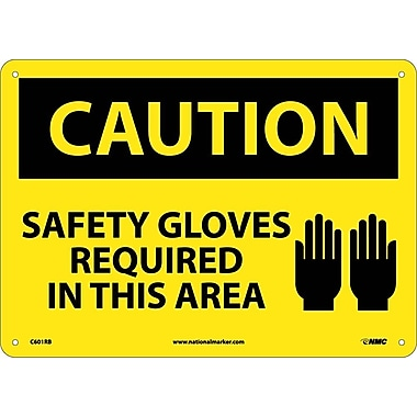 Caution, Safety Gloves Required In This Area, Graphic, 10X14, Rigid Plastic