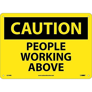 Caution, People Working Above, 10X14, Rigid Plastic