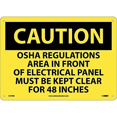 Caution, Osha Regulations Area In Front Of Electrical Panel Must Be Kept Clear for 48 Inches, 10