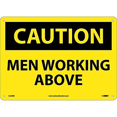 Caution, Men Working Above, 10X14, Rigid Plastic