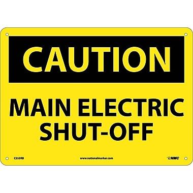 Caution, Main Electric Shut-Off, 10X14, Rigid Plastic