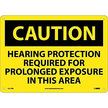 Caution, Hearing Protection Required For Prolonged Exposure In This Area, 10X14, Rigid Plastic