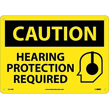 Caution, Hearing Protection Required, Graphic, 10X14, Rigid Plastic