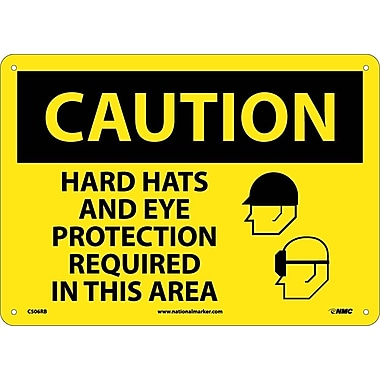 Caution, Hard Hats And Eye Protection Required In This Area, Graphic, 10X14, Rigid Plastic