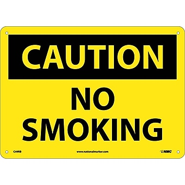Caution, No Smoking, 10X14, Rigid Plastic