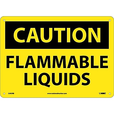 Caution, Flammable Liquids,10X14, Rigid Plastic