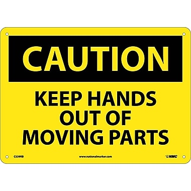Caution, Keep Hands Out Of Moving Parts, 10X14, Rigid Plastic