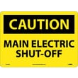 Caution, Main Electric Shut-Off, 10X14, .040 Aluminum