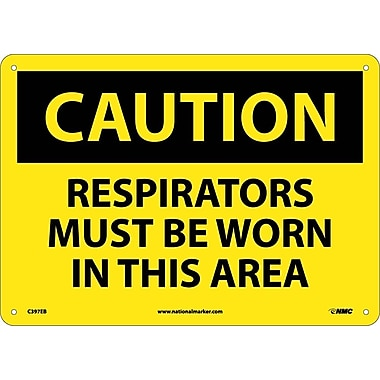 Caution, Respirators Must Be Worn In This Area, 10X14, Fiberglass