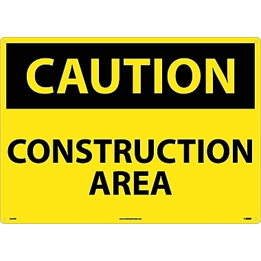 Caution, Construction Area, 20X28, Rigid Plastic