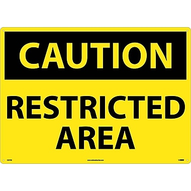 Caution, Restricted Area, 20X28, Rigid Plastic