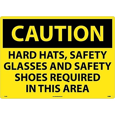 Caution, Hard Hats Safety Glasses And Safety Shoes Required In This Area, 20X28, Rigid Plastic