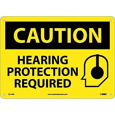 Caution, Hearing Protection Required, Graphic, 10X14, .040 Aluminum
