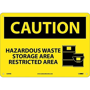 Caution, Hazardous Waste Storage Area Restricted Area, Graphic, 10X14, .040 Aluminum