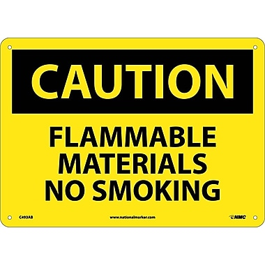 Caution, Flammable Materials No Smoking, 10X14, .040 Aluminum