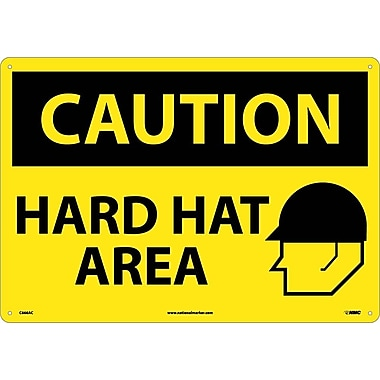 Caution, Hard Hat Area, Graphic, 14X20, .040 Aluminum