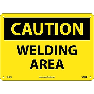 Caution, Welding Area, 10X14, .040 Aluminum