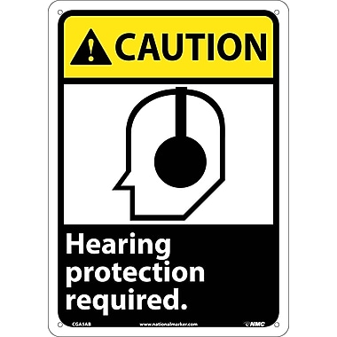 Caution, Hearing Protection Required (W/Graphic), 14X10, .040 Aluminum
