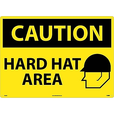 Caution, Hard Hat Area, Graphic, 20X28, .040 Aluminum