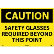 Caution, Safety Glasses Required Beyond This Point, 20X28, .040 Aluminum