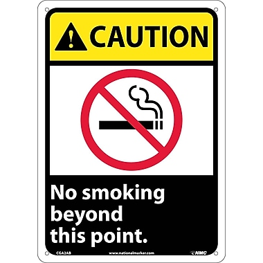 Caution, No Smoking Beyond This Point (W/Graphic), 14X10, .040 Aluminum