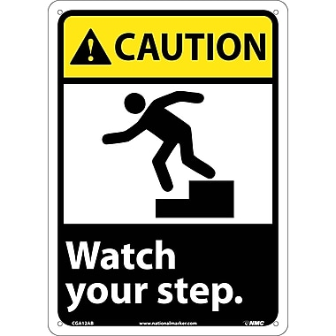 Caution, Watch Your Step (W/Graphic), 14X10, .040 Aluminum