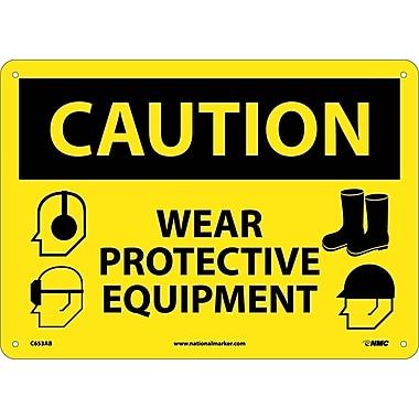 Caution, Wear Protective Equipment, Graphics, 10X14, .040 Aluminum