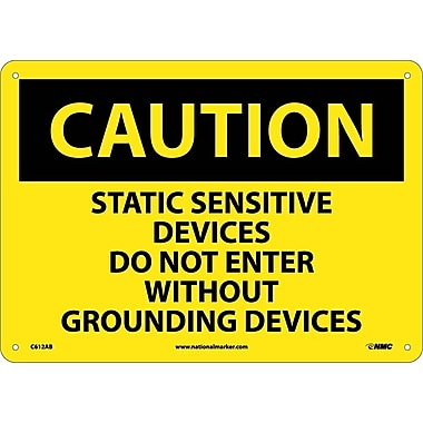 Caution, Static Sensitive Devices Do Not Enter Without Grounding Devices, 10X14, .040 Aluminum