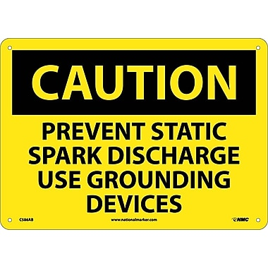 Caution, Prevent Static Spark Discharge Use Grounding Devices, 10X14, .040 Aluminum