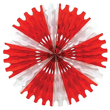 Tissue Fan, Red And White, 25